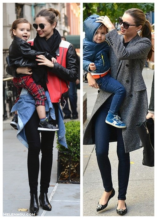 The art of accessorizing-helenhou.com-Miranda Kerr, son flynn, colorblock leather jacket, skinny jeans, ankle booties, grey coat