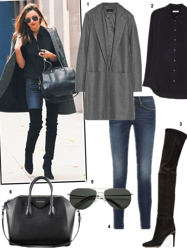 how to wear thigh high boots, models off duty looks, fall/winter, street style, On Miranda Kerr: Oliver Peoples aviator sunglasses, Balmain Stretch Suede Over-the-Knee Boots in Black,Givenchy Antigona Satchel Bag, Stella mccartney grey coat, Equipment Hunter washed-silk tuxedo shirt,    Featured: 1. Theory 'ELIBETH' WOOL BLEND COAT,  2. EQUIPMENT Hunter washed-silk tuxedo shirt,  3. BALMAIN Stretch Suede Over-the-Knee Boots in Black,  4. FRAME DENIM Le Skinny de Jeanne mid-rise skinny jeans,  5. Oliver Peoples 'Tavern' 61mm Aviator Sunglasses Gold/ Green Gradient NONE,  6. GivenchyANTIGONA SATCHEL BAG, MEDIUM,