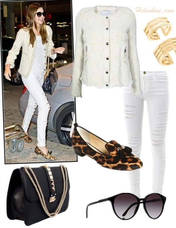 how to wear white in winter, What to wear with a tweed   jacket, Street style, party outfit, fall/winter,   Blake Lively, Miranda Kerr, white jacket, tweed jacket,   white skirt, ankle booties, loafer, distressed jeans,   Valentino 'Grande Lock', turtleneck sweater,  On Miranda Kerr: Chanel cream tweed jacket, Stella   McCartney oversized cat eye sunglasses, white distressed   jeans, Valentino Grande Lock Bag,Prada leopard tassel   loafer, Anita Ko ring,  Longines La Grande watch, Featured: Jacket: Regan Jacket by: IRO, Jeans: Frame DenimLE SKINNY DE JEANNE MID-RISE SKINNY JEANS, Ring: atlantic pacific for BaubleBar, Shoes: VC Signature 'Nancy' Loafer , Bag: Valentino 'GRANDE LOCK' LEATHER SHOULDER BAG , Sunglasses: Stella McCartneyOVERSIZED CAT EYE SUNGLASSES