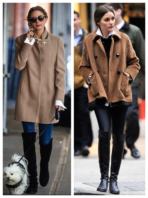 The art of accessorizing-helenhou.com-Olivia Palermo, camel coat, skinny jeans, Stuart Weitzman boots, leather pants, white shirt