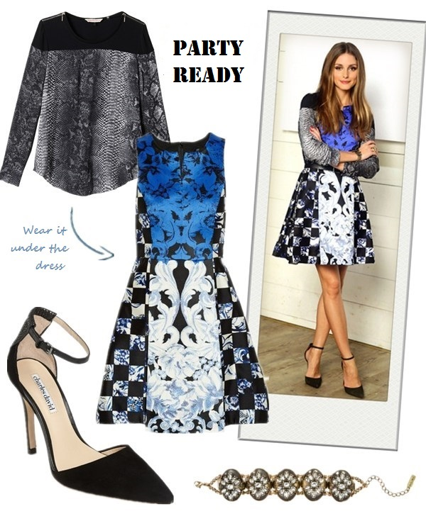 what to wear to a party, party outfit ideas 2013,how to wear a printed dress,   party outfit, fall/winter,  Olivia Palermo, Miranda Kerr, printed dress, Python blouse, ankle strap pump, double breast coat, blue pump, Prada Saffiano, pink top-handle bag,  On Olivia Palermo: Rebecca Taylor Python Blouse with Solid Blocking,Tibi Rococo Check Sleeveless Dress, ankle strap pump,   Also Featured:  Charles by Charles David Charles David 'Gillian' Pump,  Baublebar smoky dame bracelet
