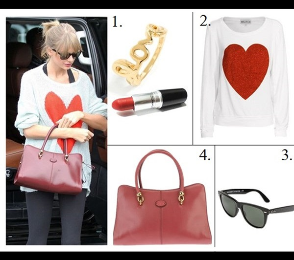 how to style chunky sweaters,  On Taylor Swift: Wildfox HEART print sweater, black leggings, burgundy TOD'S 'SELLA' TOTE,  celebrity street style, model off duty style, fall/winter,   Featured: 1.BaubleBar Mixed Midi Rings & M.A.C. Lipstick in 'Ruby Woo', 2. Wildfox Sparkle Heart Top, 3. Ray-Ban Classic Wayfarer Sunglasses, 4. Tod's 'Sella' Tote,