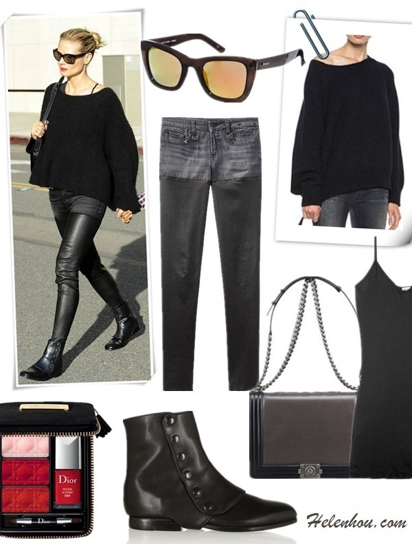 how to wear all black, how to wear leather pants,  fall/winter, street style, stylish mom outfits,   On Heidi Klum:  Chanel bag, Saint Laurent belt, R13 denim/leather pants, NewbarK Hayden leather and suede gaiter ankle boots, black sweater,  Featured: Sweater: Nili Lotan18-8 OVERSIZED PULLOVER, Top: SPLENDID Cotton and modal-blend jersey camisole, Jeans: R13 Moto Leather Chap Jeans, Bag: Chanel Grey and Black Calfskin Large Boy Flap Bag , Shoes: NEWBARK Hayden leather and suede gaiter ankle boots, Sunglasses: MINKPINK SMOKE SCREEN D FRAME SUNGLASSES,  Lip: Dior (Beauty) 'Couture' Lip & Nail Palette (Limited Edition)