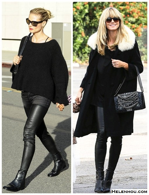 how to wear all black, how to wear leather pants,  fall/winter, street style, stylish mom outfits,  Heidi Klum, black sweater, leather denim and leather R13 pants, ankle boots, black coat, Chanel bag,  On Heidi Klum:  Chanel bag, Saint Laurent belt, R13 denim/leather pants, NewbarK Hayden leather and suede gaiter ankle boots, black sweater,  On Heidi Klum: fur collar coat, black leather pants, Rag & Bone black BOOTIES, oversized sunglasses