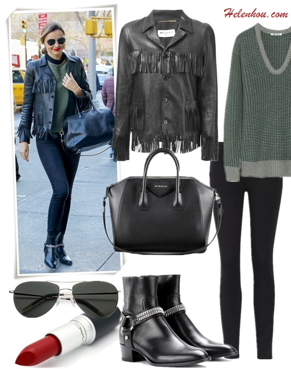 How to wear leather jacket, how to wear fringe, street style, party outfit ideas, fall/winter,  On Miranda Kerr: Saint Laurent Black Fringed Leather Jacket, Rock Leather Ankle Boots, Frame Denim Skinny Jeans, Givenchy Antigona Duffle   Featured: Jacket: Saint LaurentSAINT LAURENT FRINGED LEATHER JACKET, Sweater: T by Alexander Wang CHUNKY-KNIT SWEATER , Jeans: FRAME DenimLE COLOR SKINNY JEANS, Bag: Givenchy Antigona Satchel Bag,  Shoes: Saint Laurent ROCK LEATHER ANKLE BOOTS,  Sunglasses: Oliver Peoples 'Strummer' Metal Aviator Sunglasses,  Lip: M.A.C. lipstick in 'Russian Red',