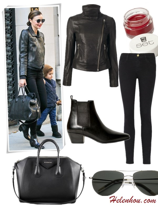 how to wear all black, how to wear leather jacket, workout outfits,  Miranda Kerr, street style, fall/winter,  leather jacket, ankle boots, studded boots, denim shirt, Givenchy Antigona bag, Givenchy Lucrezia, Frame Denim, skinny jeans, sunglasses, saint laurent, On Miranda Kerr:Givenchy Antigona Satchel Bag, Frame Denim Le Luxe Noir stretch-satin twill skinny jeans,SAINT LAURENT  ankle boots, aviator sunglasses,  Featured:  Jacket: MACKAGE 'Lisa' jacket,  Jeans: FRAME DenimLE COLOR SKINNY JEANS,  Shoes: SAINT LAURENT ROCK LOW BOOTS,  Bag: Givenchy Antigona Satchel Bag,  Sunglasses: Oliver Peoples 'Strummer' Metal Aviator Sunglasses, Lip: NP Set Lip Balm via Target