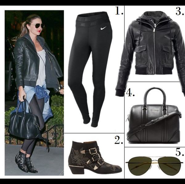 how to wear all black, how to wear leather jacket, workout outfits,  	Miranda Kerr, street style, fall/winter,  	leather jacket, ankle boots, studded boots, denim shirt, Givenchy Antigona bag, Givenchy Lucrezia, Frame Denim, skinny jeans, sunglasses, saint laurent, 	On Miranda Kerr:Givenchy Lucrezia Satchel Bag,CHLOÉ Susanna studded leather ankle boots,Oliver Peoples aviator sunglasses,  MCS bracelet,    	Featured:  1. Nike Pro-Hyperwarm Running Tights,  2. CHLOÉ Susanna studded leather ankle boot,  3. R13HOODED LEATHER BOMBER JACKET,  4. GIVENCHY Medium Lambskin Lucrezia Bag in Black,  5. Oliver Peoples 'Strummer' Metal Aviator Sunglasses,