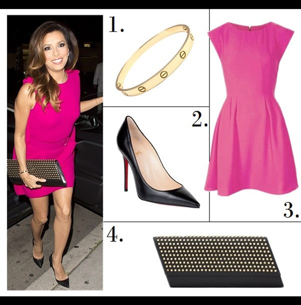 The Art of Accessorising-Helenhou.com-Party outfit idea-Eva Longoria,pink dress, SAINT LAURENT studded clutch, Cartier Bracelet