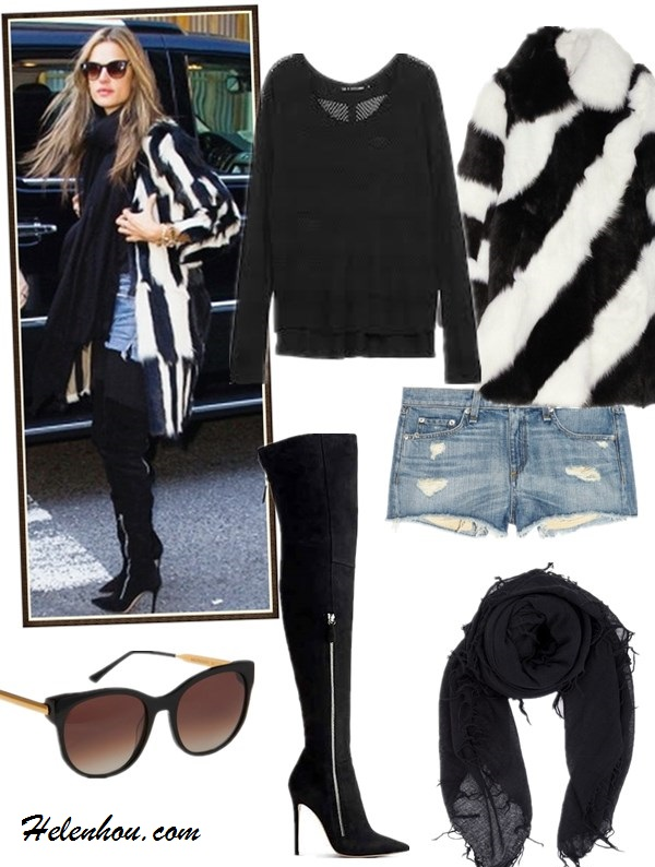 how to wear a fur vest/coat, how to wear plaids/checks,  street style, fall/winter,  Olivia Palermo, Alessandra Ambrosio, fur vest, fur coat, blue pump, denim shorts, over the knee boots, sweater, plaids, printed pants, sheer top,  On Alessandra Ambrosio: isabel marant striped fur coat, black scarf, denim shorts, Gianvito Rossi side Zip Over-the-Knee Boot, Thierry Lasry cat eye SUNGLASSES,  Featured:  Betty striped shearling coat by: Joseph, Rag & Bone/JEANGENEVIEVE RAGLAN PULLOVER, Rag & Bone/JEANTHE MILA SHORTS, Double Zip Over-the-Knee Bootby: Gianvito Rossi, CASHMERE AND SILK-BLEND SCARF, Thierry LasryANGELY SUNGLASSES,