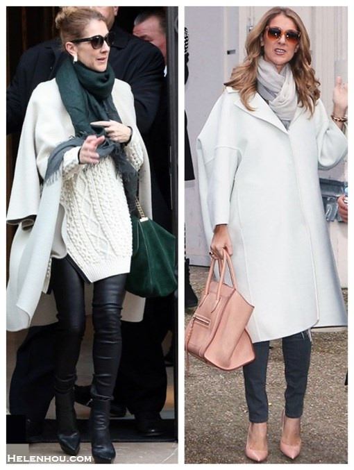 how to wear the oversized white coats,winter white trend, how  to wear leather pants,   street style, fall/winter, Celine Dion, white coat, white cable knit sweater, leather pants, black boots, green bag, celine luggage, pink pump,  On Celine Dion: Celine white oversized coat, 	3.1 Phillip Lim Zip Oversized Pullover with Faux Trim, leather pants, black leather ankle boots, emerald green suede bag, dark green scarf,  	 On Celine Dion:Celine white oversized coat, grey skinny jeans, nude pink pump, pink celine luggage tote, oversized sunglasses, grey ombre scarf,