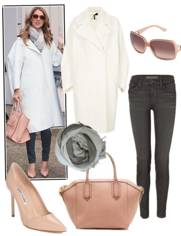 how to wear the oversized white coats,winter white trend, how  to wear leather pants,   street style, fall/winter, Celine Dion, white coat, white cable knit sweater, leather pants, black boots, green bag, celine luggage, pink pump, On Celine Dion:Celine white oversized coat, grey skinny jeans, nude pink pump, pink celine luggage tote, oversized sunglasses, grey ombre scarf,   Featured:  Topshop OVERSIZED TEXTURED THROW COAT,  J Brand 485 SUPER SKINNY LUXE SATEEN JEANS ,  J.Crew TARTINE MINI-SATCHEL IN PEBBLED LEATHER,  Manolo Blahnik  'BB' POINTY TOE PUMP,  Ombré cashmere and silk-blend scarf ,  Salvatore Ferragamo FERRAGAMO OVERSIZED SQUARE SUNGLASSES,