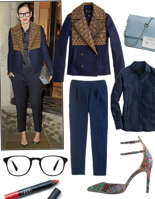 holiday party outfit ideas 2013, pastel trend fall 2013, How to Wear Menswear, how to wear a turtleneck sweater, Jenna Lyons, party outfits, fall/winter,   On Jenna Lyons: J.Crew COLLECTION GOLD BULLION brown and navy colorblock WOOL PEACOAT, jcrew silk boy shirt, J.Crew COLLECTION CURATOR PANT, ankle strap pump, oversize glasses, red lip,  On Jenna Lyons: brown tweed menswear coat with black collar, green cashmere turtleneck sweater, pink pants, yellow pump, mint clutch,   Featured: J.Crew COLLECTION GOLD BULLION PEACOAT IN ITALIAN WOOL,  J.Crew COLLECTION BOY SHIRT IN NAVY TIE SILK ,  J.Crew COLLECTION CURATOR PANT,  J.Crew COLLECTION FALSETTO SILK PRINTED PUMPS,  Michael Michael KorsMICHAEL MICHAEL KORS CROSSBODY,  WARBY PARKER DOWNING eyeglasses ,  Nars NARS Velvet Matte Lipstick Pencil in 'Dragon Girl'