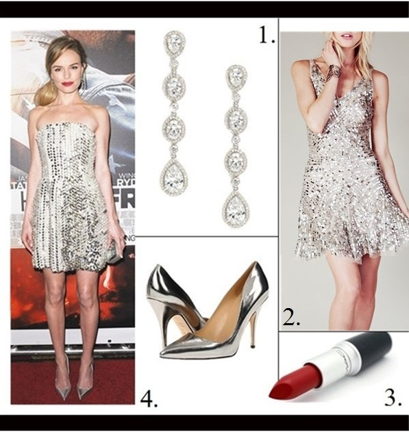 New Year's Eve Outfit Ideas, how to wear sequins/metallic, cutout trend, Taylor Swift, Kate Bosworth, party outfits,   On Kate Bosworth: Fendi sequin silver dress, Christian Louboutin silver pump, H. Stern  jewlery,    featured: Nadri Framed Cubic Zirconia Earrings,  FREE PEOPLESHIMMY SHIMMY PARTY DRESS,  M·A·C Lipstick in Russian Red,  Kate Spade New YorkKATE SPADE NEW YORK - LICORICE ,