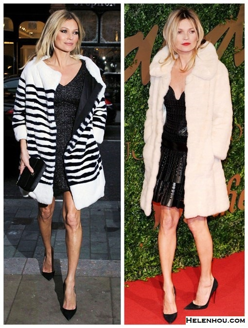 The art of accessorizing-helenhou.com-Kate moss,fur coat, black dress, chanel, leather dress,Alexander McQueen,Christian Louboutin ,marc jacobs