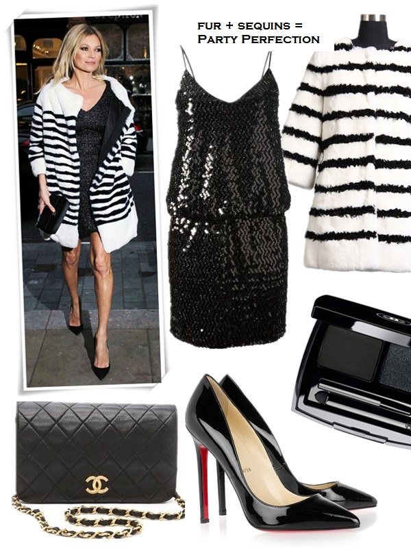 The art of accessorizing-helenhou.com-Kate moss,striped fur coat, black dress, chanel, marc jacobs