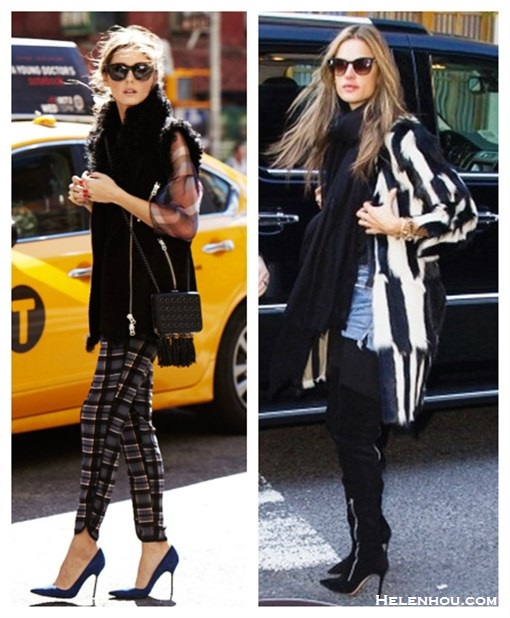 how to wear a fur vest/coat, how to wear plaids/checks,  street style, fall/winter,  Olivia Palermo, Alessandra Ambrosio, fur vest, fur coat, blue pump, denim shorts, over the knee boots, sweater, plaids, printed pants, sheer top,   On Olivia Palermo: Westward Leaning sunglasses, Zara fur vest, Carrera y Carrera jewlery, Topshop crossbody bag, Wayf plaid pants, blue pump,   On Alessandra Ambrosio: isabel marant striped fur coat, black scarf, denim shorts, Gianvito Rossi side Zip Over-the-Knee Boot, Thierry Lasry cat eye SUNGLASSES,