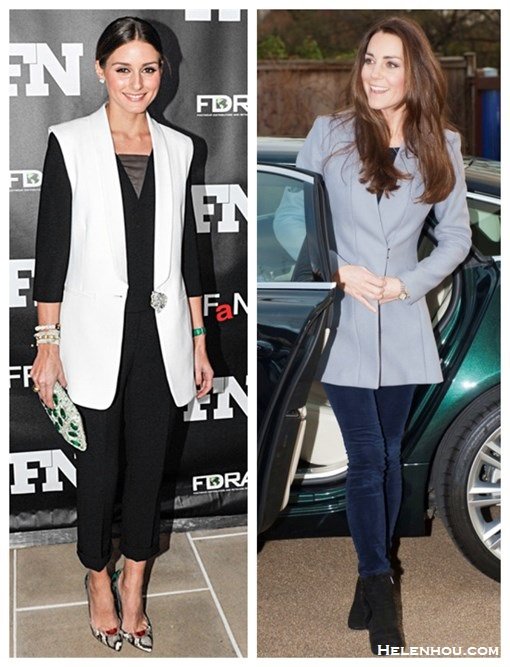 how to wear a vest, how to wear Mid-length coat, how to wear a long jacket/blazer,   fall/winter,party outfits,   Olivia Palermo, Kate Middleton,white vest, black mesh top, black pants, python snakeskin pump, jeweled clutch, grey reiss coat, blue CORD PANT, AQUATALIA boots, pendant necklace, drop earrings,   On Olivia Palermo: white vest, STUART WEITZMANTHE GEMMA CLUTCH, colorblocked snakeskin pump, black top with mesh neck, black crop trousers, diamond bracelet,     On Kate Middleton: reiss the Delaney grey jacket, deep navy Skinny Corduroy Trousers, Kiki McDonough earrings, Aquatalia booties,
