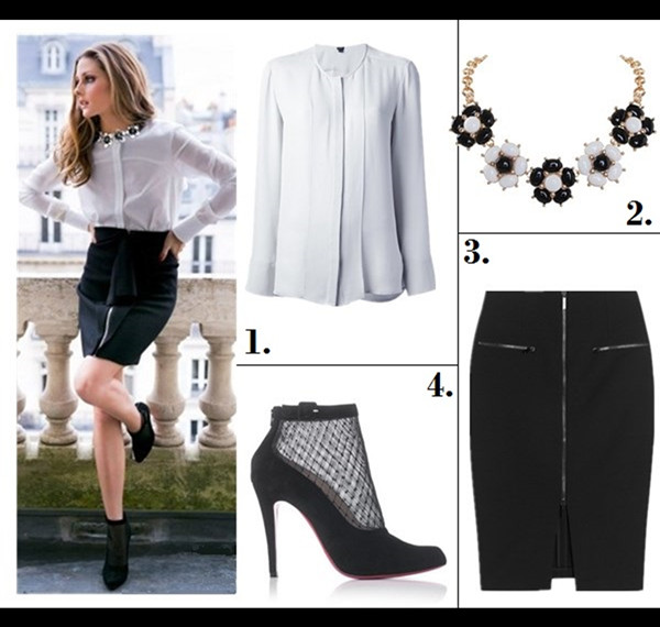 The art of accessorizing-helenhou.com- Olivia Palermo, party outfit ideas 2013,susan woo white blouse, willow pencil skirt, topshop necklace, christian louboutin booties