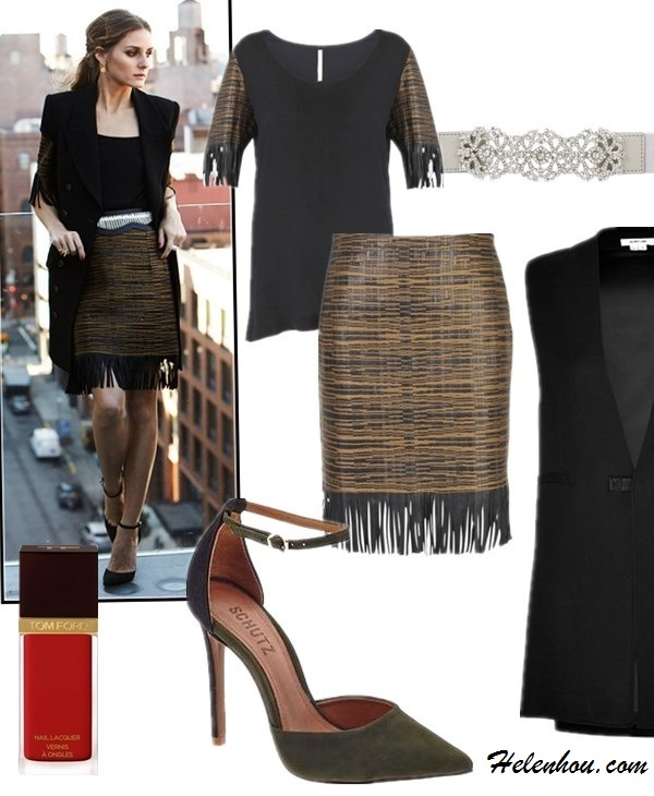 how to wear Tassels and Fringes, how to wear gingham,   Olivia Palermo, street style, fall/winter, fringe skirt, gingham shirt, ankle strap shoes, embellished belt,     On Olivia Palermo:Willow leather trim tassel top, willow leather trim tassel pencil skirt, BCBG belt, Schutz 'Irma' Ankle Strap Pointy Toe Pump,Wunderkind sunglasses, Rachel Zoe black vest, Carrera y Carrera jewelry,  Featured: Schutz Irma pump, Willow jacquard trim leather top,  willow jacquard trim leather skirt,  Helmut lang SLEEVELESS JACKET IN BLACK,  BCBGMAXAZRIASTONE WAIST BELT,  Tom Ford NAIL LACQUER in 'Ginger Fire',