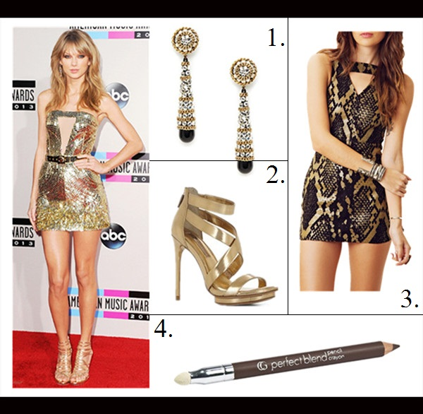 New Year's Eve Outfit Ideas, how to wear sequins/metallic, cutout trend, Taylor Swift, Kate Bosworth, party outfits,   On Taylor Swift at 2013 American Music Awards: Julien   Macdonald gold cut out dress, Jimmy Choo strappy sandal,   Tod's clutch, Lorraine Schwartz jewelry.   featured: GILT GOLD DISC, CRYSTAL, & BLACK RESIN BRIOLETTE DROP EARRINGS,  BCBGMAXAZRIA LEEMOUR STRAPPY HIGH-HEEL SANDAL,  One Teaspoon Suede African Night Flight Dress by: One Teaspoon,  COVERGIRL PERFECT BLEND PENCIL - SMOKY TAUPE WARM 130,