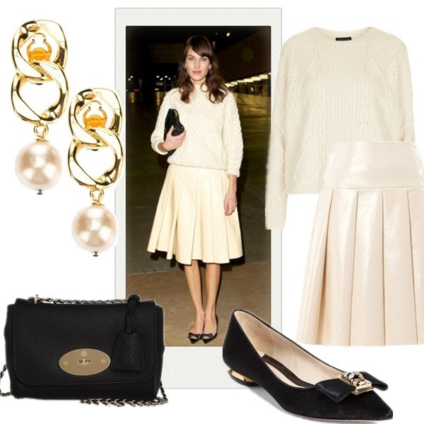 The Art of Accessorising-Helenhou.com-Alexa Chung, cable knit sweater, leather pleated skirt, mulberry,bow flat