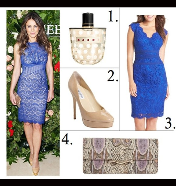 how to wear lace dresses,  	Olivia Palermo, Elizabeth Hurley, party outfit ideas,  	On Elizabeth Hurley: Tadashi Shoji sheath blue lace dress, nude pump, python clutch,  Featured:  1. Marni Rose Eau De Parfum, 2. Jimmy Choo 'Cosmic' Platform Pump, 3. Tadashi Shoji Lace & Tulle Sheath Dress, 4. Rebecca Minkoff Honey Clutch,