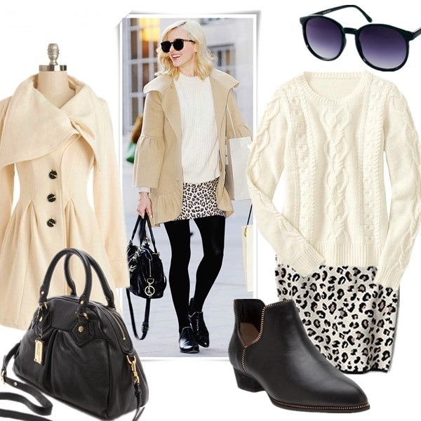 how to wear a leopard skirt, winter white,  Fearne Cotton, Reese Witherspoon, fall/winter, street style, denim jacket, leopard skirt, ankle boots, white sweater, celine bag, sunglasses,  Fearne Cotton wearing: Karen Walker Super Duper Strength Sunglasses, Paul & Joe coat, Zara Ribbed Sweater, ASOS skirt,Mulberry Bag, Senso Bertie Ankle Boots.  Featured: Coat: ModCloth Moonlight Mimicry Coat, Bag: Marc by Marc Jacobs Classic Q Baby Aidan Bag, Sunglasses: Karen Walker Super Duper Sunglasses, Sweater: Gap Cable knit pullover, Skirt: Velvet Belen Leopard Pencil Skirt, Shoes: Senso Bertie Ankle Boots,