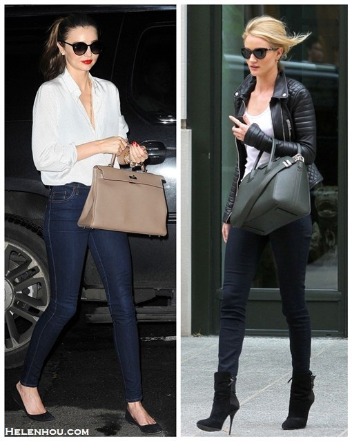 Wardrobe essentials; how to wear leather jacket, Miranda Kerr & Rosie Huntington-Whiteley, street style, fall/winter, model off duty look,   On Miranda Kerr: white shirt, frame denim skinny jeans, black ballet flat, hermes bag, stella mccartney oversized sunglasses,   On Rosie Huntington-Whiteley: black quilted leather jacket, black skinny jeans, ankle boots, givenchy antigona bag, white top, sunglasses,