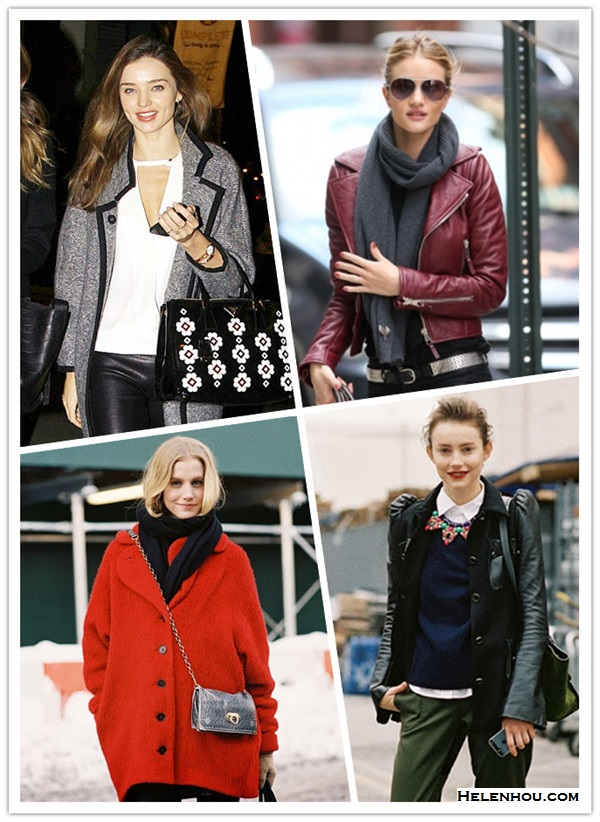 how to wear a leather jacket, how to wear the oversized coat, winter outfit ideas,   street style, models off duty look, fall/winter,  Miranda Kerr, Rosie Huntington-Whiteley, street style, Lauren Bigelow;   On Miranda Kerr:prada floral applique bag, Isabel Marant Khan Tweed Coat,Helmut Lang Stretch Leather Pants,alc white blouse,  On Rosie Huntington-Whiteley: bordeaux Balenciaga leather jacket, black scarf, burberry aviator sunglasses, skinny jeans,   street style on fashion week: jcrew statement necklace, leather sleeve jacket, green pants,navy sweater, white button down shirt,black leather ankle boots,  Model Lauren Bigelow off duty street style:red oversized coat, black scarf, chain leather crossbody bag,