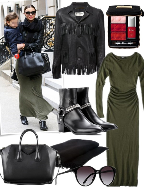 Mom's Outfits Ideas, how to wear ankle boots,  Street style, fall/winter,  Lily Aldridge, Miranda Kerr, Street style, maxi dress, leather jacket, white sweater, skinny jeans, ankle boots, sunglasses,Givenchy 'Antigona'   On Miranda Kerr: Saint Laurent fringe leather jacket, green maxi dress/skirt, Saint Laurent ROCK LEATHER ANKLE BOOTS, Givenchy 'Antigona' bag, Rick Owens black scarf, red lips, Stella McCartney round oversized sunglasses;  Featured:  Jacket: Saint Laurent fringe leather jacket,  Dress: Mossimo® Women's Longsleeve Scoop Neck Maxi Sweater Dress - Assorted Colors,  Shoes: Saint Laurent ROCK LEATHER ANKLE BOOTS,  Bag: Givenchy 'Antigona',  Scarf: Rick Owens black scarf ,  Sunglasses: Stella McCartney round oversized sunglasses,  Makeup: Dior 'Couture' Lip & Nail Palette,