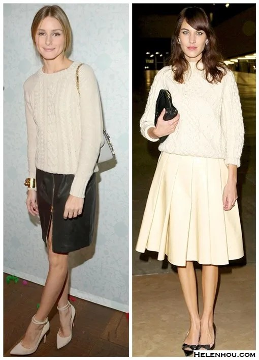 The Art of Accessorising-Helenhou.com-Olivia Palermo, Alexa Chung, cable knit sweater, leather skirt, mulberry, old navy, bow flats