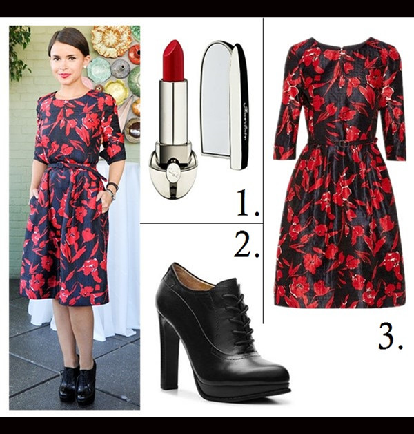 how to wear a midi dress, how to wear floral print, party outfit ideas,  	Oscar de la Renta for The Outnet collection,  	Poppy Delevingne, Miroslava Duma, floral midi dress, Mary Katrantzou,  		On Miroslava Duma :OSCAR DE LA RENTA FOR THE OUTNET red Floral-print dress;  	Featured:1. Guerlain Rouge Exceptional Complete Lip Stick in 'Gilda 27',  2. NINE WEST SIZZLE OXFORD BOOTIE ,  3. Oscar de la Renta x The OutnetFloral-print silk and cotton-blend dress,