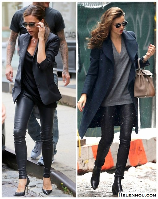 Wardrobe essentials; how to wear leather pants, Victoria Beckham, Miranda Kerr, street style, fall/winter, model off duty look,   On Victoria Beckham: Victoria Beckham black blazer, leather pants, Manolo Blahnik BB pumps, aviator sunglasses.   On Miranda Kerr: black coat, Helmut Lang Stretch Leather Pants, SAINT LAURENT black ankle BOOTS, hermes bag,