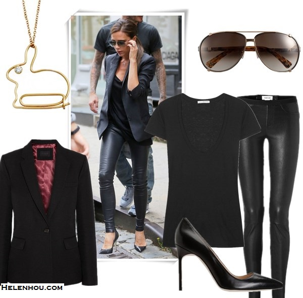 Wardrobe essentials; how to wear leather pants, Victoria Beckham, Miranda Kerr, street style, fall/winter, model off duty look,   On Victoria Beckham: Victoria Beckham black blazer, leather pants, Manolo Blahnik BB pumps, aviator sunglasses.   Featured: Jacket: J.Crew WOOL, COTTON AND MOHAIR-BLEND BLAZER,  Top: James PerseSHORT SLEEVE V NECK TEE,  Pants: Helmut Lang Stretch Leather Pants,  Shoes: Manolo Blahnik black BB pumps,  Necklace: Diamond Bunny Pendant by: Astley Clarke, Sunglasses: Christian Dior Dior 'Chicago' 63mm Metal Aviator Sunglasses,