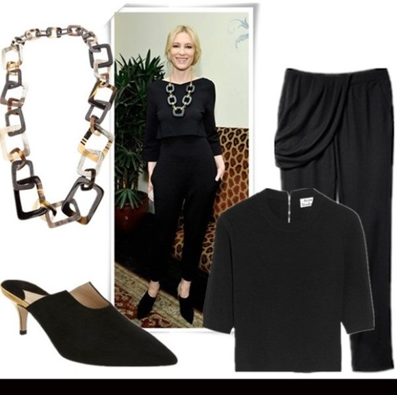 how to wear crop tops,how to accessories black and white,   Jennifer Lawrence, Cate Blanchett, party outfits, fall/winter,   Blanchett at W Magazine Pre-Golden Globes Party: Stella McCartney	 top, Stella McCartney trousers, Roger Vivier heels, Kara Ross necklace.    Featured:  Necklace: ONYX cattle horn chain necklace  (similar here)  Shoes: Paul Andrew Calandra (60% off! another great style here)  Top: Acne Aurora Boiled cropped stretch-knit sweater (also here, on Cate Blanchett here; similar here)  Pants: A.L.C. Warby Pants (love the draped panel, slouchy cut and silk material!)