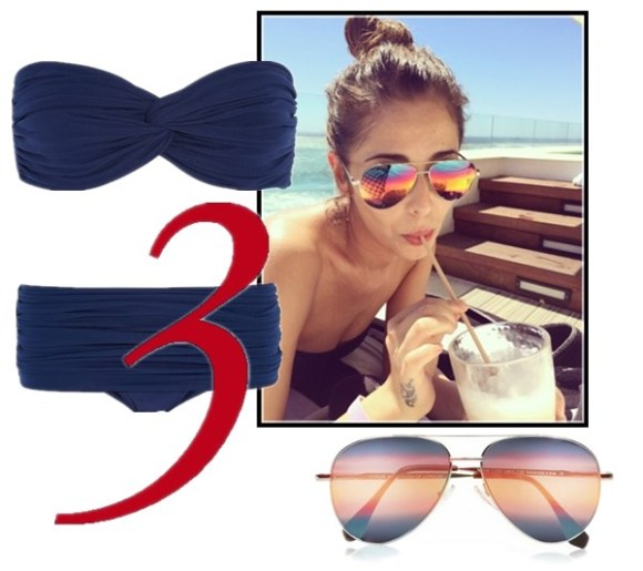 celebrity instagram, sunglass trend, vacation looks,  Alessandra Ambrosio, Miranda Kerr, Cheryl Cole, Rosie Huntington-Whiteley, Demi Lovato.  On Cheryl Cole in South Africa: blue bikini and aviator mirror sunglasses by Cutler and Gross,  Featured:  NORMA KAMALI ruched bandeau bikini top bikini briefs, CUTLER AND GROSS Aviator metal mirrored sunglasses