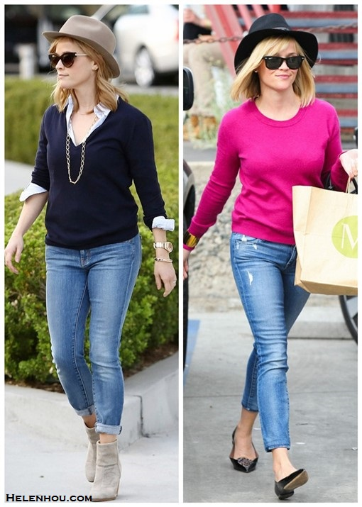 On Reese Witherspoon (left): THIERRY LASRY lively sunglasses, Rag & Bone Newbury Classic Suede Bootie,Irene Neuwirth link chain necklace.   On Reese Witherspoon(right): Ray-Ban 'New Small Wayfarer' 52mm Polarized Sunglasses,Reed Krakoff Mini Atlantique Bionic Leather & Suede Tote, TABITHA SIMMONS Leopard Ponyhair Alexa,