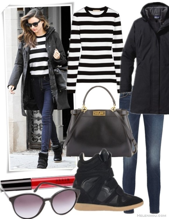 How to wear a striped sweater; How to wear the oversized coat trend,   Featured:  Sweater: MICHAEL KORS Striped cotton sweater,  Coat: Patagonia 'Vosque' 3-in-1 Parka,  Bag: Fendi Peekaboo Leather Medium Tote Satchel, Black/Brown,  Jeans: FRAME Denim Le Skinny de Jeanne Jeans,  Shoe: Isabel Marant Beckett Suede Wedge Sneaker,  Lipstick: stila 'stay all day' liquid lipstick in 'Fiery',  Sunglasses: Stella McCartney OVERSIZED ROUND SUNGLASSES,