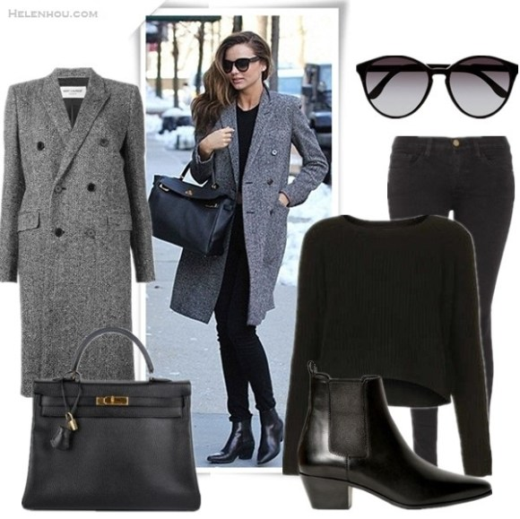 How to wear menswear trend, how to wear a grey coat,   Miranda Kerr, Kate Moss, fall/winter,Models off Duty,Street Style, Party Outfits,Casual Attire,