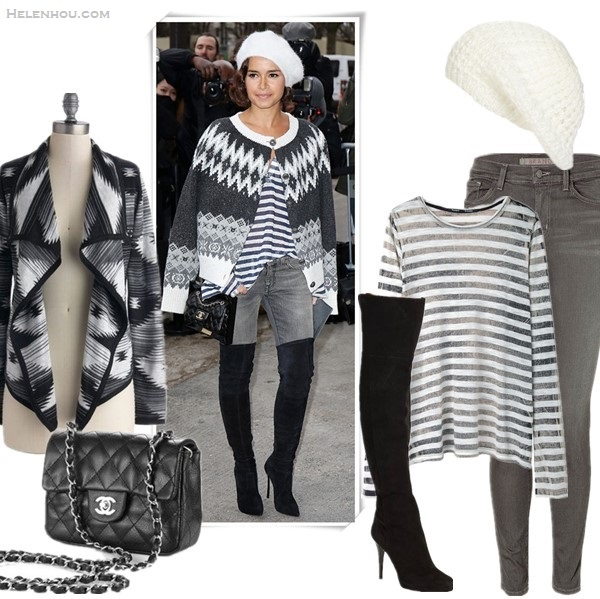 how do petites wear thigh high boots, Miroslava Duma, street style, fashion week, Chanel fashion show front row, On Miroslava Duma: printed cardigan, white beret hat, striped tee, grey skinny jeans, thigh high boots, chanel mini flap. Featured:  Cardigan: ModCloth Trend Sweater Cardigan in Monochrome  Bag: Chanel mini flap bag black caviar leather with silver hardware, Hat: Steve Madden Glitter Knit Beret,  Top: Proenza Schouler Long-Sleeve Faded Striped T-Shirt, Jeans: J Brand Photo Ready 910 Super Skinny Jeans ,  Boots: Jimmy Choo Gypsy Suede Over-The-Knee Boots