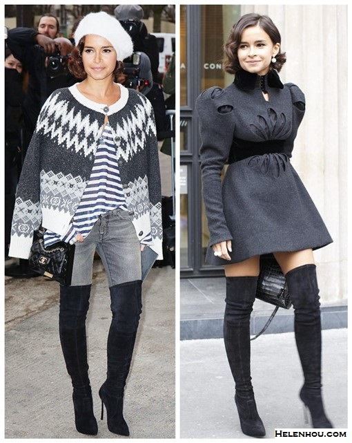 how do petites wear thigh high boots, Miroslava Duma, street style, fashion week, Chanel fashion show front row,  On Miroslava Duma: printed cardigan, white beret hat, striped tee, grey skinny jeans, thigh high boots, chanel mini flap.  On Miroslava Duma: grey perforated dress, pearl earrings, pearl ring, black handbag, suede thigh high boots.