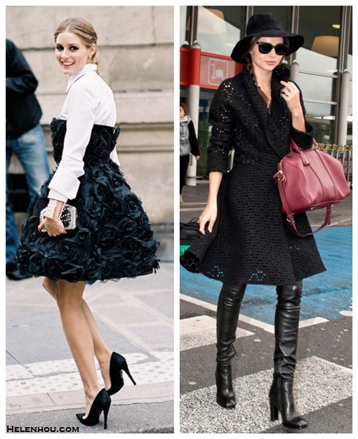 how to wear the little black dress, how to wear over the knee boots,    Olivia Palermo, Miranda Kerr, street style, fashion week, Models off Duty, fall/winter,Party Outfits,     On Olivia Palermo at the Valentino Haute Couture show in Paris: black strapless dress, white button front shirt, statement necklace, box clutch, pointy toe pump. On Miranda Kerr: rag & bone fedora hat, louis vuitton sc bag, over the knee boots, black lace dress.
