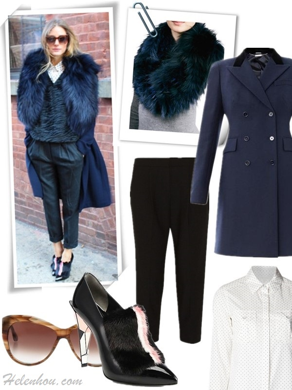 how to wear fur,  Olivia Palermo, street style, fall/winter, Party Outfits, Formal Wear, Casual Attire, fur collar coat, fur pump, crop pants, orange flared skirt, knee high boots,   On Olivia Palermo: Fendi shoes, Tibi pants, Club Monaco shirt, Elizabeth & James 'Crescent' 57mm Sunglasses, Agnona coat, Featured:    Collar: GorskiLAYERED FOX FUR COWL COLLAR, DEEP BLUE (on sale, also here; faux fur option here)  Coat: ALEXANDER MCQUEEN Velvet-collar wool coat (50% off; anther great style here)  Shirt: Rag & Bone Anaheim Polka Dot Cotton Shirt (great style here!)  Pant: tibi Anson Stretch Cropped Pants (also here)  Shoe: fendi Fur-Trimmed Patent Leather Ankle Boots (60% off now; great alternative here)  Sunglasses: Elizabeth & James 'Crescent' 57mm Sunglasses