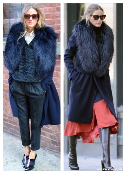 how to wear fur,  Olivia Palermo, street style, fall/winter, Party Outfits, Formal Wear, Casual Attire, fur collar coat, fur pump, crop pants, orange flared skirt, knee high boots,   On Olivia Palermo: Fendi shoes, Tibi pants, Club Monaco shirt, Elizabeth & James 'Crescent' 57mm Sunglasses, Agnona coat,    On Olivia Palermo:REISS London Paprika Fit and Flare Skirt, Christian Louboutin Mirabelle Boots,Agnona Fur Collar Navy Coat,HELMUT LANG Cash Fly Knit Turtleneck in Black,