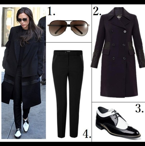 How to wear white, how to wear menswear,    On Victoria Beckham: SAINT LAURENT Black And White Two Tone Laced Oxfords, Victoria Beckham Collection coat, Victoria Beckham Collection aviator sunglasses, SAINT LAURENT black straight pants,     Featured: 1. Vince RELAXED CASHMERE SWEATER  2. Aqua Maxi Skirt - Crepe Double Slit  3. Manolo Blahnik BB pumps in Wine (same color also in luxe suede and smooth leather ; similar here)  4. KARL LAGERFELD Kuilted leather shoulder bag