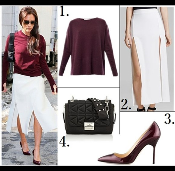 How to wear white, how to wear menswear,    On Victoria Beckham: Manolo Blahnik BB pumps in Wine, Victoria Beckham Collection aviator sunglasses, Victoria Beckham camera shoulder bag,  Chanel burgundy sweater,     Featured: 1. Gucci 63mm Metal Aviators  2. DKNY Leather trim double-breasted coat (also love this)  3. Stacy Adams Dayton - Wingtip (similar here)  4. Vince 'Strapping' Stretch Wool Trousers (on Beckham here)