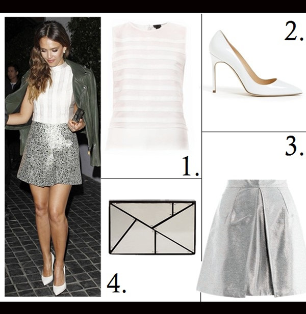 how to wear crop tops; how to wear floral print, how to wear metallics/sequins,  Rihanna, Jessica Alba, party outfits, street style,  On Jessica Alba:  Kara Ross ring, Tory Burch cropped sleeveless top, Tory Burch metallic skirt, Tory Burch Frete box Clutch, spring/summer,Girls Night Out outfit ideas, Date Night outfit ideas  Featured:  1. Theory Leather stripe sleeveless top, 2. Manolo Blahnik 'BB' Pointy Toe Pump white, 3. Markus Lupfer Box-pleat metallic skirt, 4. Vince Camuto cleo clutch