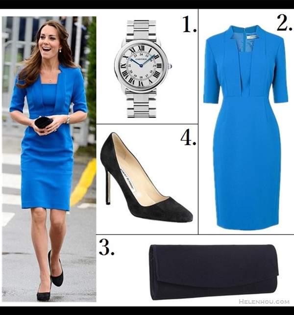 how to wear bright colors  Kate Middleton, Lily Aldridge, spring/summer, Party Outfits, Formal Wear, dresses, pumps,   Catherine, Duchess of Cambridge Kate Middleton at  ICAP Art Room at Northolt High School on February 14: an LK Bennett blue suit, Cartier watch, and Kiki McDonough earrings.   Featured:  1. Cartier stainless steel bracelet watch (great alternative here & here)  2. L.K. Bennett Detroit Dress, Snorkel Blue (also available here; similar here)  3. Stuart Weitzman 'Raz' suede clutch bag (on sale! in patent leather here)  4. Manolo Blahnik BB Suede Round Toe Pumps (similar here)