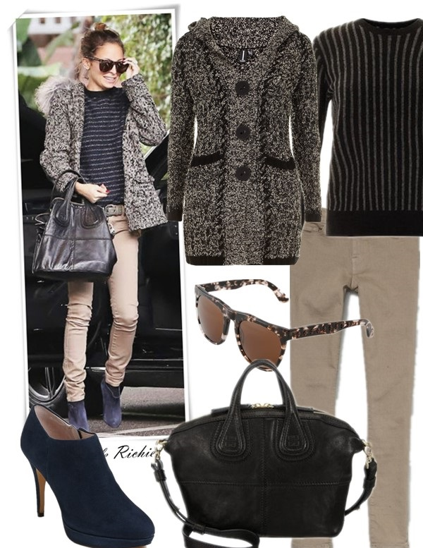 how to wear hooded cardigan sweater, Olivia Palermo, Nicole Richie, street style, skinny jeans, leather pants, ankle boots, Givenchy Nightingale,Balenciaga, trendy sunglasses, Striped sweater, chloe  On Nicole Richie: jennifer meyer small triangle studs with diamonds, Givenchy Nightingale Bag, Harlow 1960 Blondie sunglasses,Balenciaga Navy Suede booties, Ksubi Spray On Jeans in Mission, Proenza Schouler Striped sweater  Featured:  Cardigan: Dorothy Perkins Multi Black Bouclé Cardigan,  Sweater: THEORY Jaidyn stripe sweater,  Jeans: FRAME Denim Le Color Cropped Skinny Jeans,  Sunglasses: Harlow 1960 Blondie sunglasses,  Bag: GIVENCHY Micro Nightingale Satchel black,similar here)  Shoes: Vince Camuto 'Elvin' Bootie,