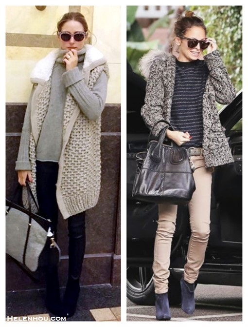 how to wear hooded cardigan sweater, Olivia Palermo, Nicole Richie, street style, skinny jeans, leather pants, ankle boots, Givenchy Nightingale,Balenciaga, trendy sunglasses, Striped sweater, chloe